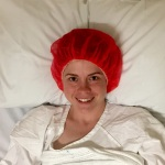 Red shower cap pre-operation